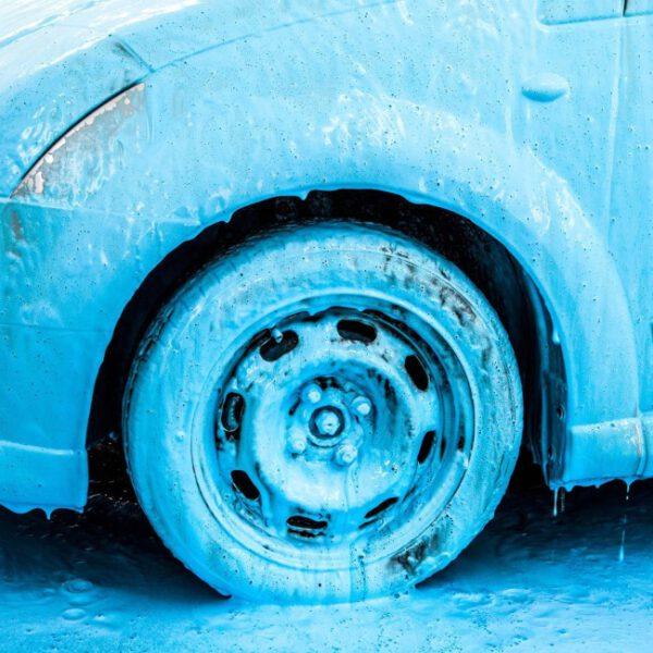shiny garage blue foam efekt